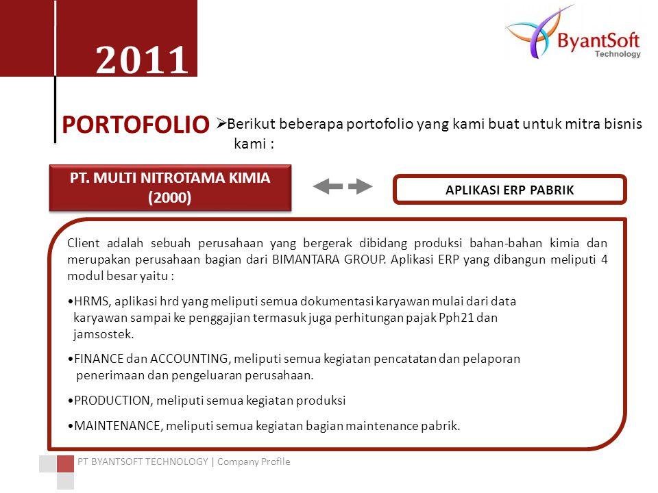 2011 PT BYANTSOFT TECHNOLOGY | Company Profile PORTOFOLIO  Berikut beberapa portofolio yang kami buat untuk mitra bisnis kami : PT. MULTI NITROTAMA K