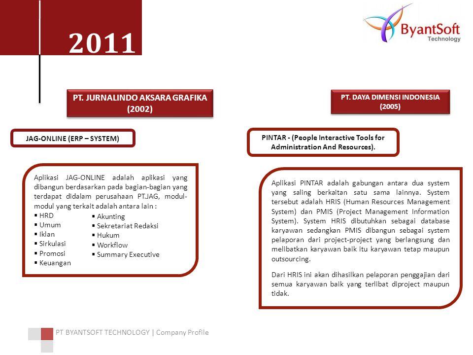 2011 PT BYANTSOFT TECHNOLOGY | Company Profile Aplikasi JAG-ONLINE adalah aplikasi yang dibangun berdasarkan pada bagian-bagian yang terdapat didalam