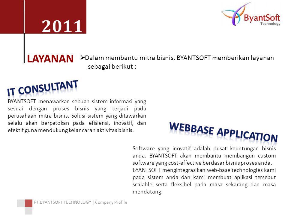 2011 PT BYANTSOFT TECHNOLOGY | Company Profile LAYANAN  Dalam membantu mitra bisnis, BYANTSOFT memberikan layanan sebagai berikut : BYANTSOFT menawar