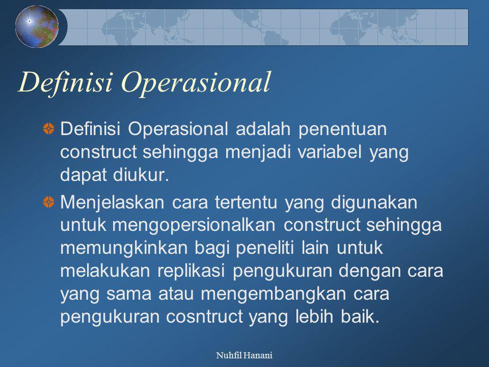 Nuhfil Hanani Definisi Operasional Definisi Operasional adalah penentuan construct sehingga menjadi variabel yang dapat diukur. Menjelaskan cara terte
