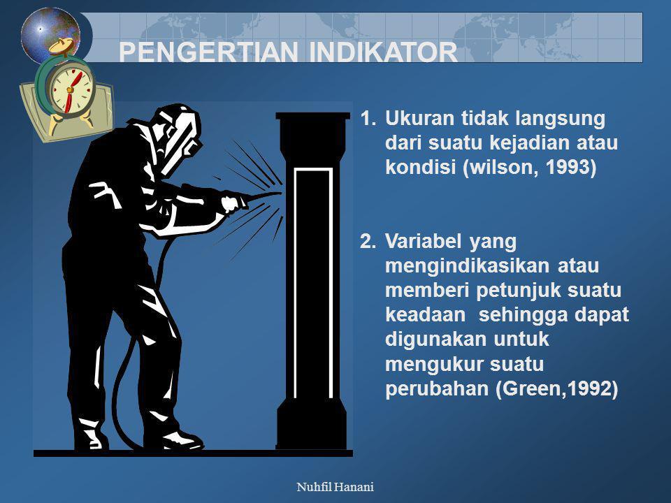 Nuhfil Hanani PENGERTIAN INDIKATOR 1.Ukuran tidak langsung dari suatu kejadian atau kondisi (wilson, 1993) 2.Variabel yang mengindikasikan atau member