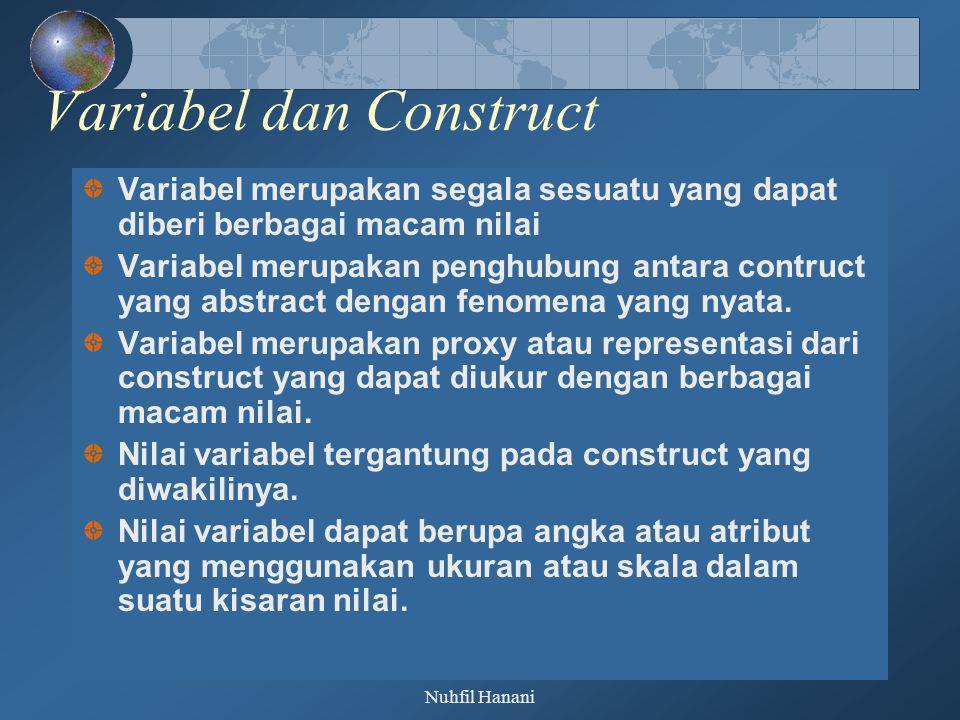 Nuhfil Hanani Variabel dan Construct Variabel merupakan segala sesuatu yang dapat diberi berbagai macam nilai Variabel merupakan penghubung antara con