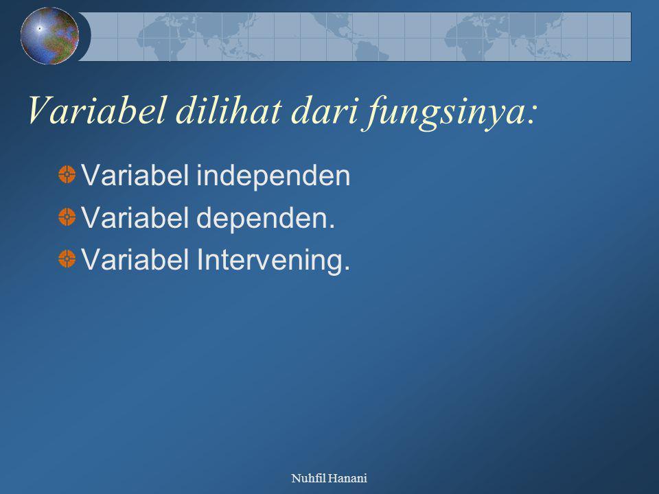 Nuhfil Hanani Variabel dilihat dari fungsinya: Variabel independen Variabel dependen. Variabel Intervening.