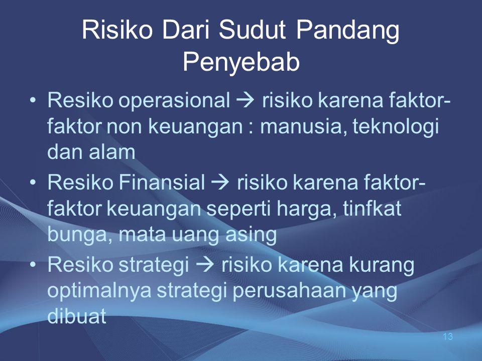 Risiko Dari Sudut Pandang Penyebab •Resiko operasional  risiko karena faktor- faktor non keuangan : manusia, teknologi dan alam •Resiko Finansial  r