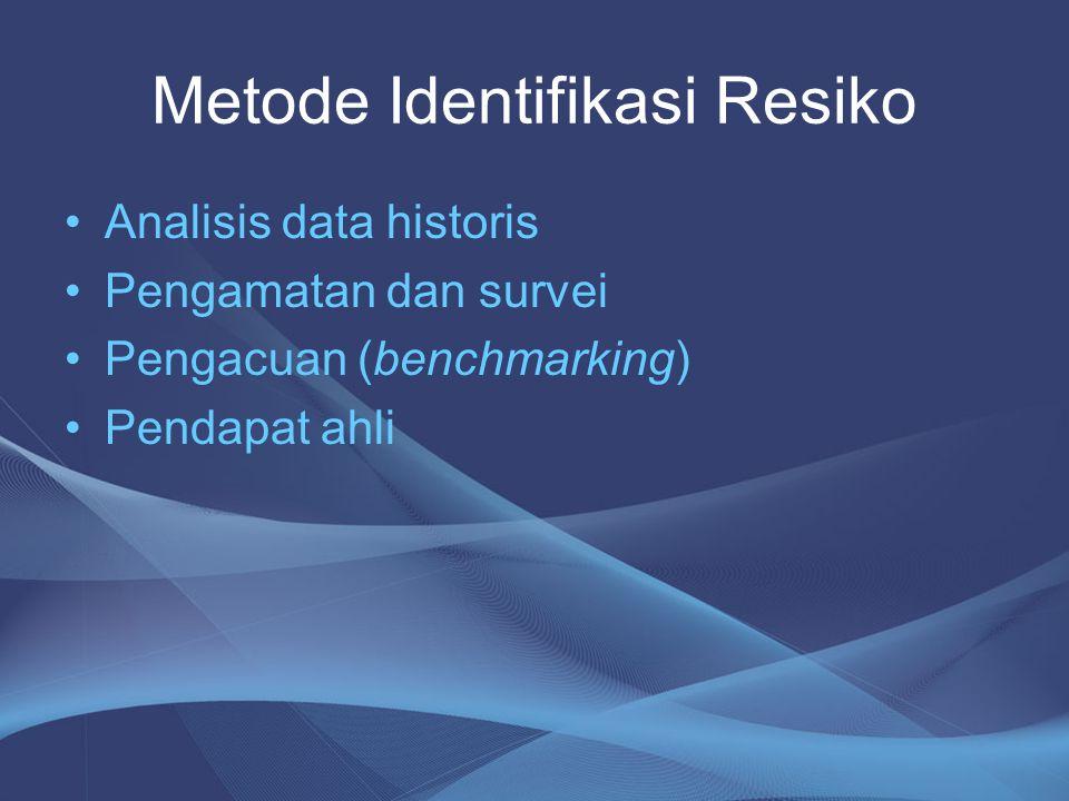 Metode Identifikasi Resiko •Analisis data historis •Pengamatan dan survei •Pengacuan (benchmarking) •Pendapat ahli