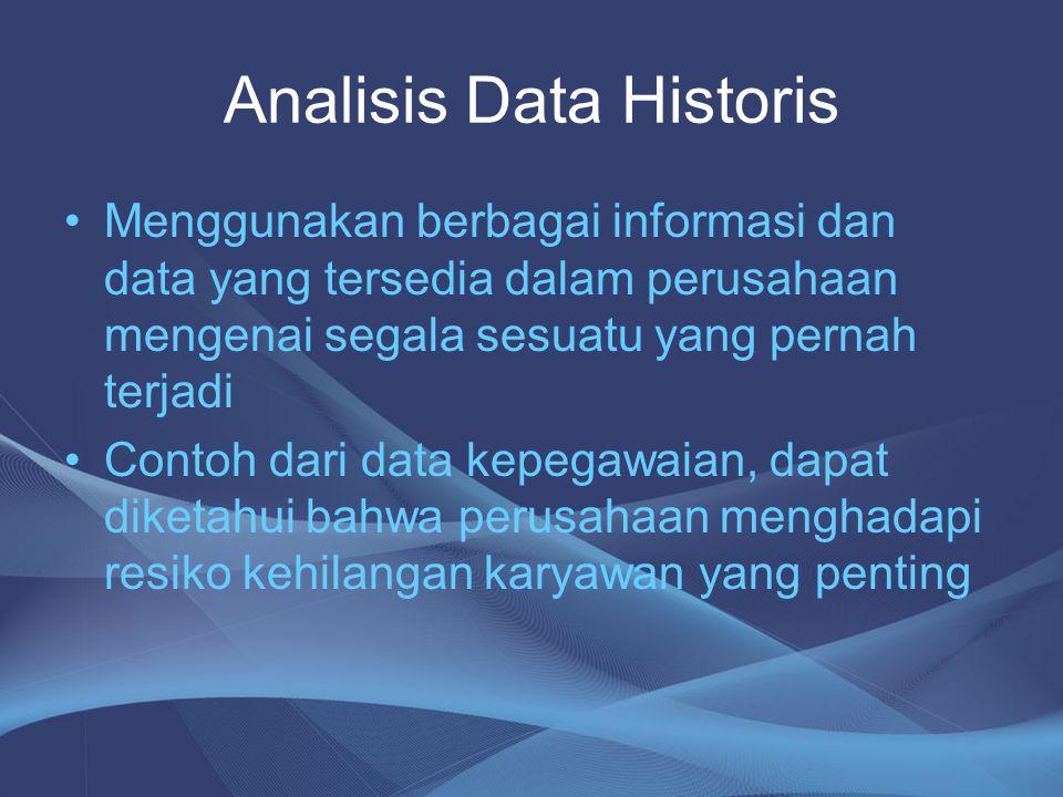 Analisis Data Historis •Menggunakan berbagai informasi dan data yang tersedia dalam perusahaan mengenai segala sesuatu yang pernah terjadi •Contoh dar