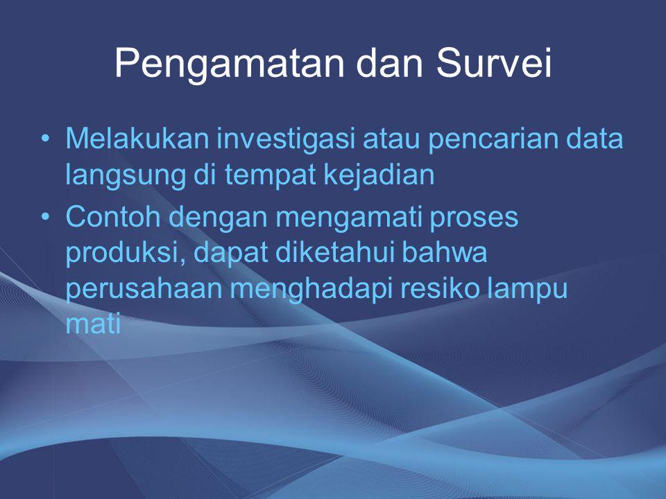 Pengamatan dan Survei •Melakukan investigasi atau pencarian data langsung di tempat kejadian •Contoh dengan mengamati proses produksi, dapat diketahui