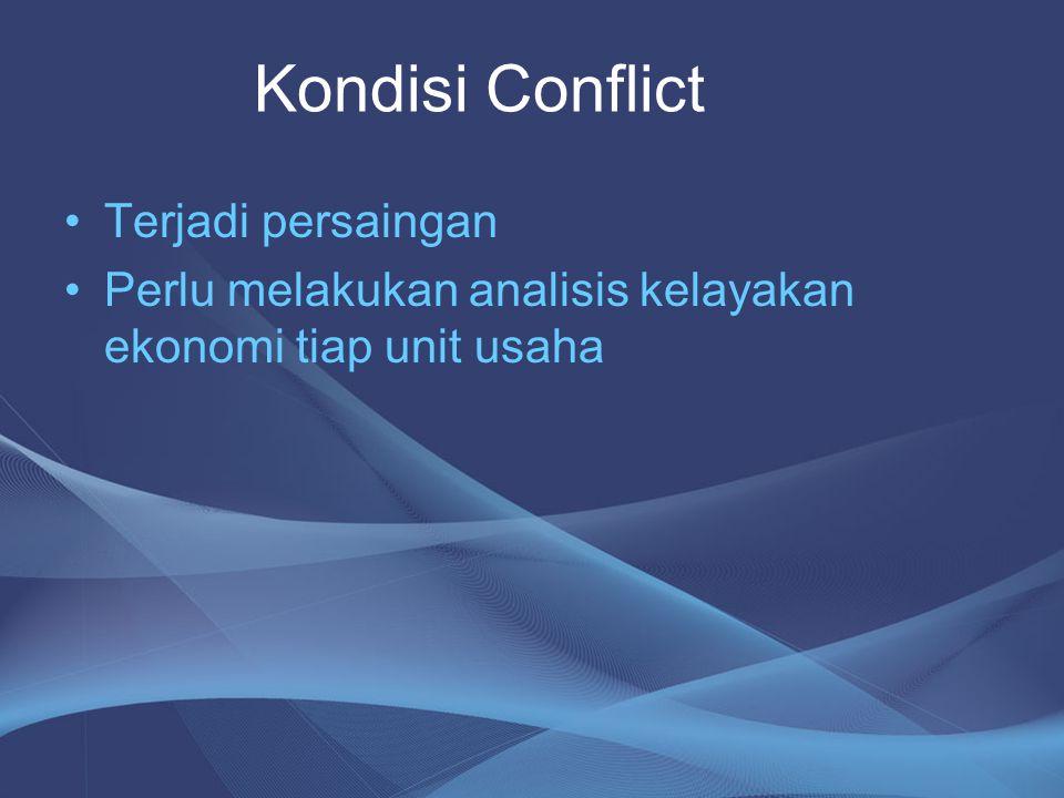 •Terjadi persaingan •Perlu melakukan analisis kelayakan ekonomi tiap unit usaha Kondisi Conflict