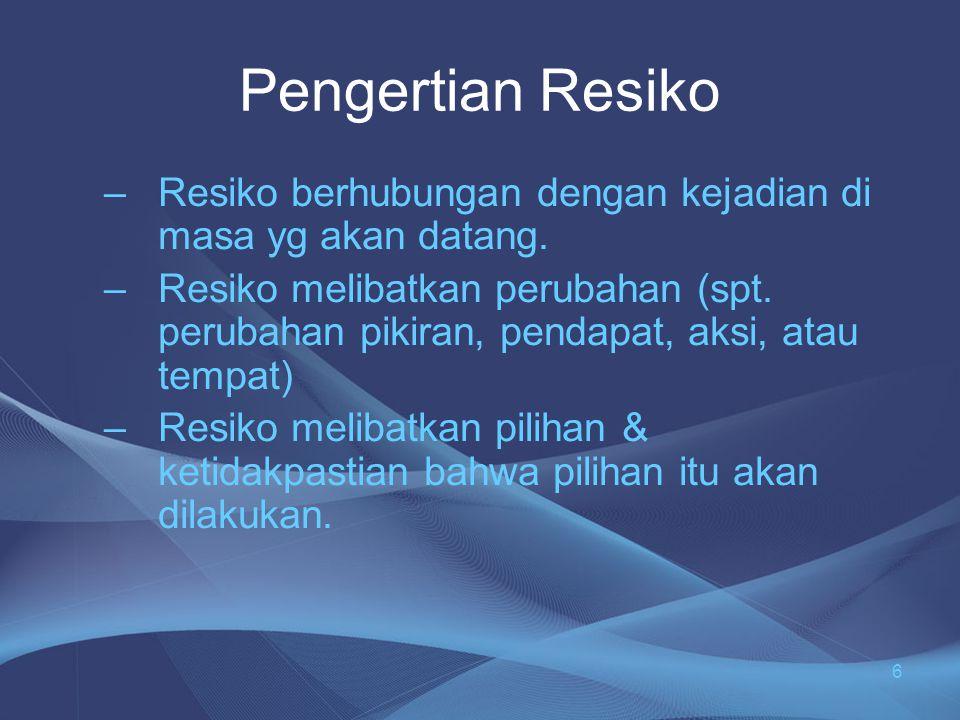 Definisi Resiko •A•Akibat yang kurang menyenangkan (merugikan, membahayakan) dari suatu perbuatan atau tindakan •S•Sebagai kemungkinan penyimpangan negatif dari hasil yang diinginkan atau diharapkan atau resiko sebagai suatu kemungkinan kerugian •M•Menyangkut situasi di mana terdapat suatu kemungikan terjadinya hasil yang tidak menguntungkan 7