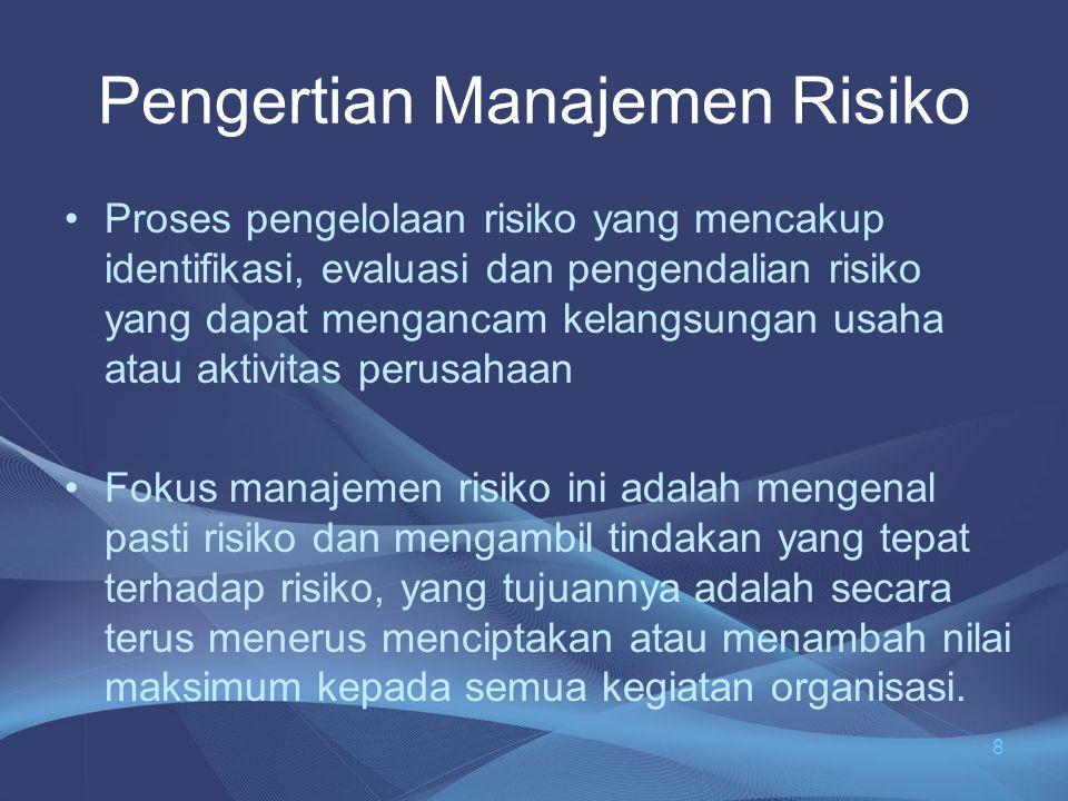 MANAJEMEN RISIKO •Memahami risiko bertujuan untuk mengelola risiko •Pengelolaan akan dapat berjalan dengan baik apabila diketahui apakah itu risiko •Besar kecilnya risiko akan menjadi prioritas dalam menetapkan kebijakan pengelolaan risiko