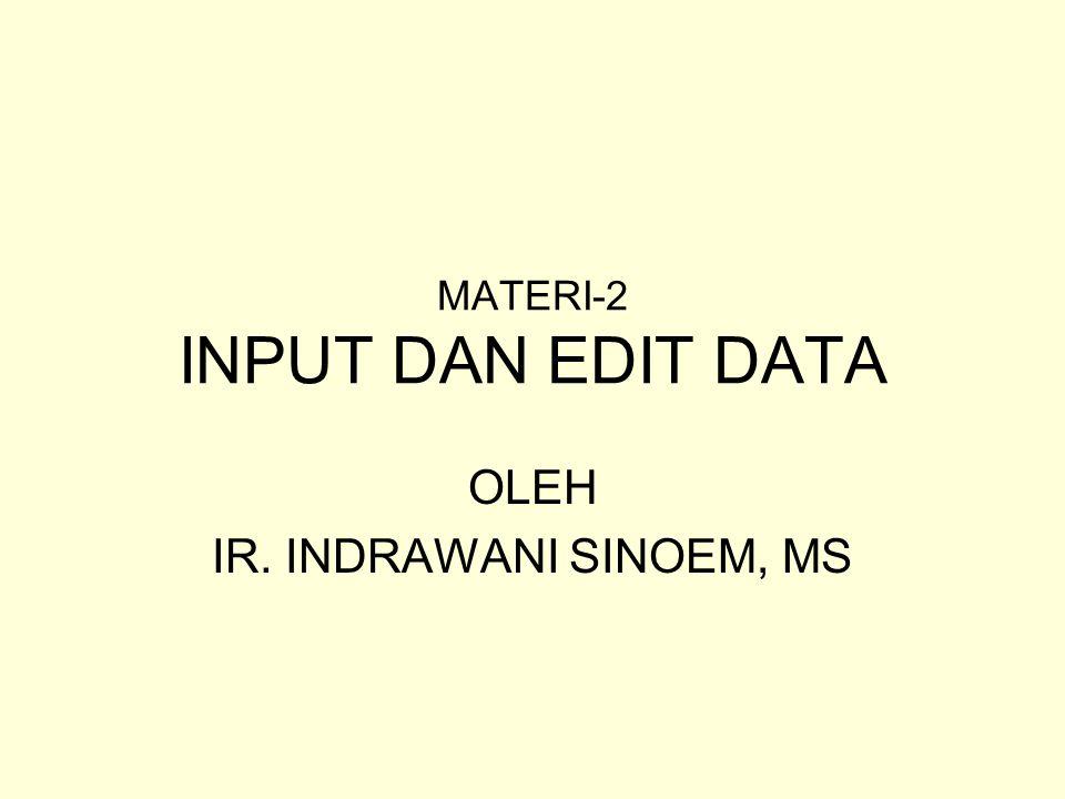 MATERI-2 INPUT DAN EDIT DATA OLEH IR. INDRAWANI SINOEM, MS