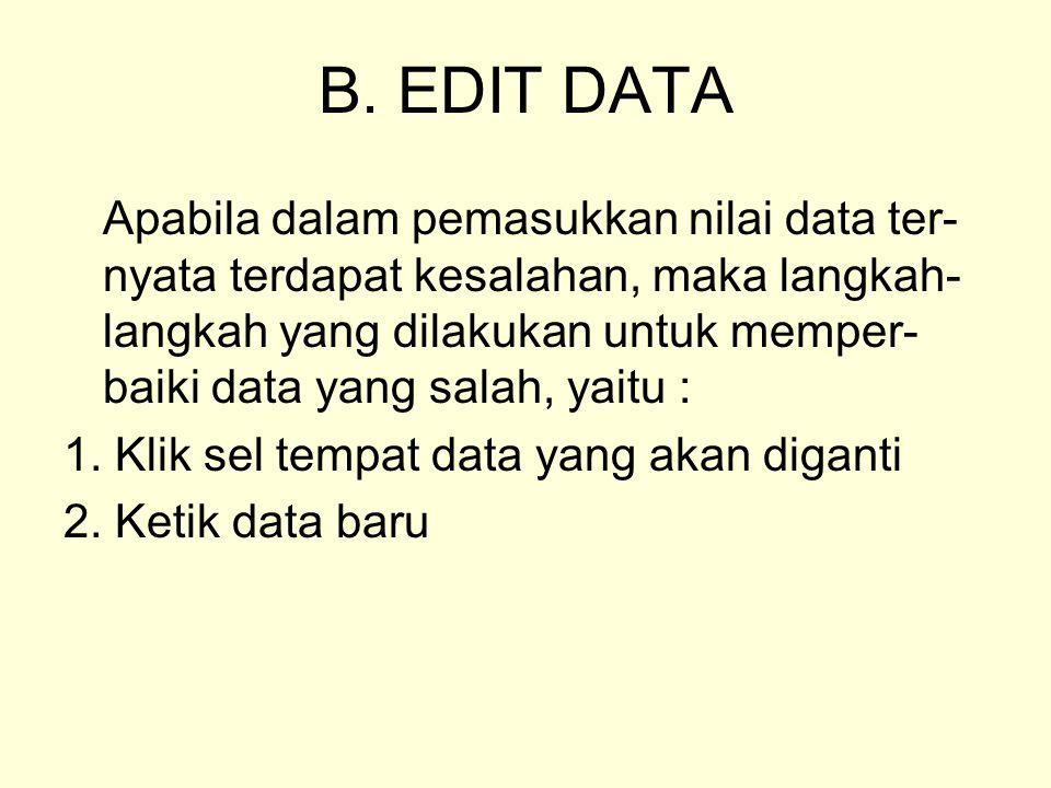 B. EDIT DATA Apabila dalam pemasukkan nilai data ter- nyata terdapat kesalahan, maka langkah- langkah yang dilakukan untuk memper- baiki data yang sal