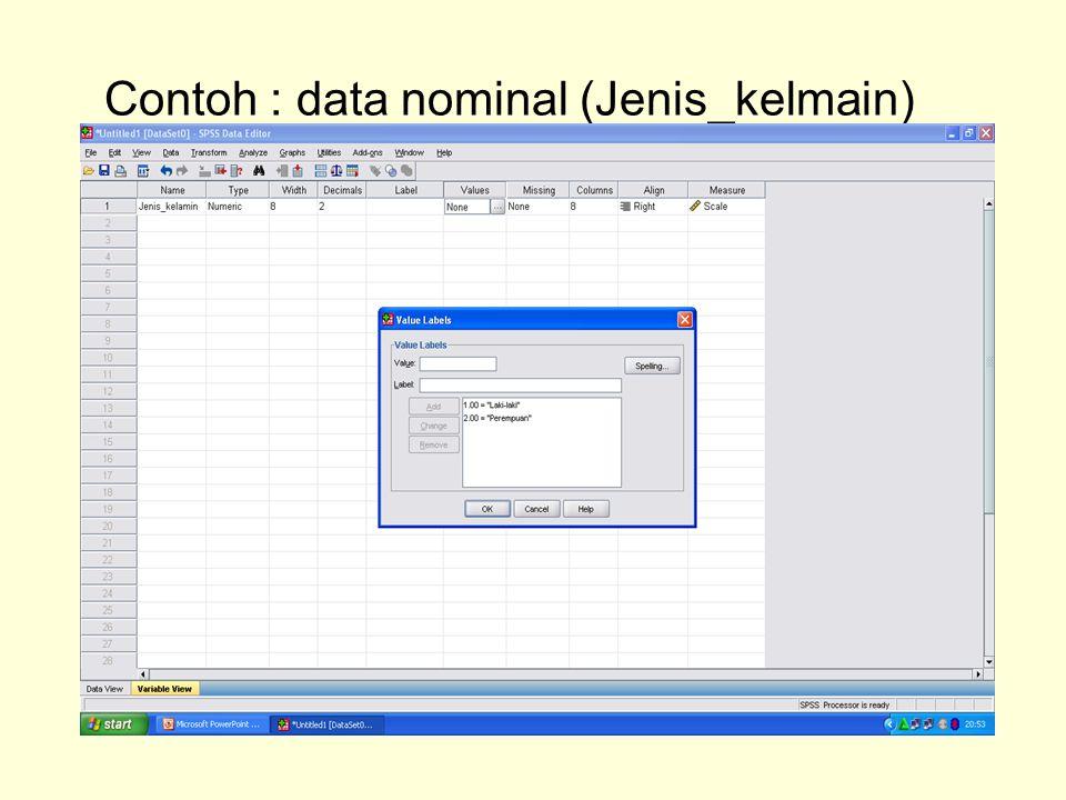 Contoh : data nominal (Jenis_kelmain)