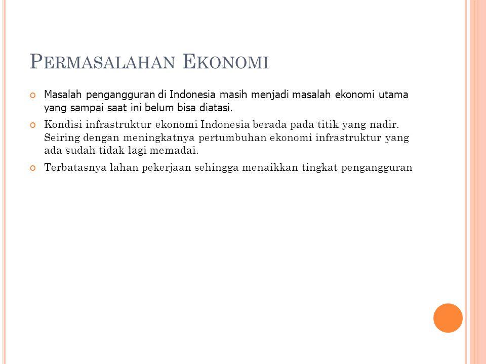 P ERMASALAHAN E KONOMI Masalah pengangguran di Indonesia masih menjadi masalah ekonomi utama yang sampai saat ini belum bisa diatasi.