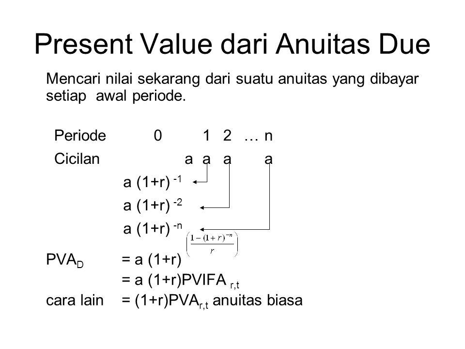 Present Value dari Anuitas Due Mencari nilai sekarang dari suatu anuitas yang dibayar setiap awal periode. PVA D = a (1+r) = a (1+r)PVIFA r,t cara lai