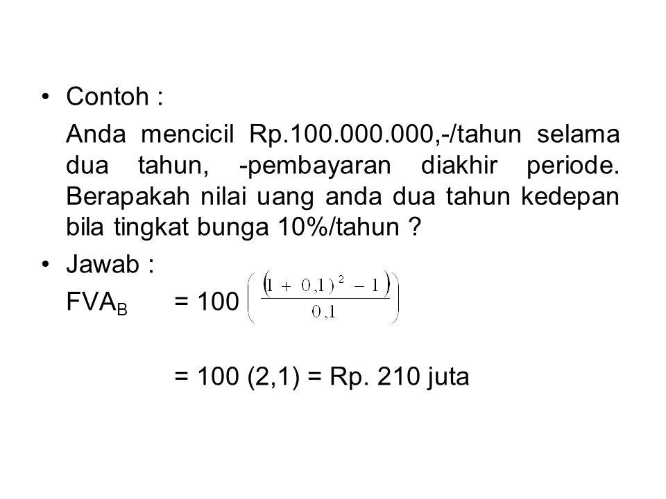 •Contoh : Anda mencicil Rp.100.000.000,-/tahun selama dua tahun, -pembayaran diakhir periode. Berapakah nilai uang anda dua tahun kedepan bila tingkat