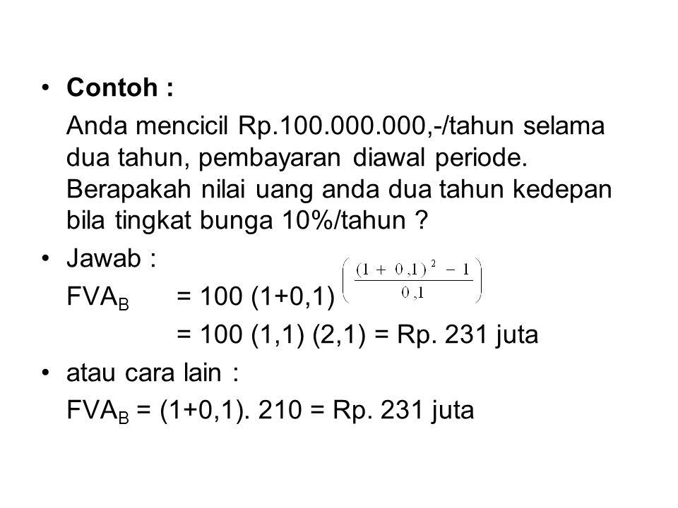•Contoh : Anda mencicil Rp.100.000.000,-/tahun selama dua tahun, pembayaran diawal periode.