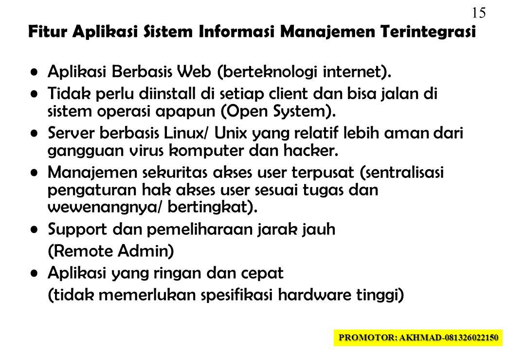 15 •Aplikasi Berbasis Web (berteknologi internet).