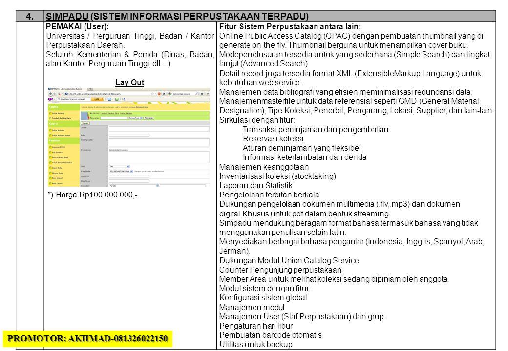4.4.SIMPADU (SISTEM INFORMASI PERPUSTAKAAN TERPADU) PEMAKAI (User): Universitas / Perguruan Tinggi, Badan / Kantor Perpustakaan Daerah.