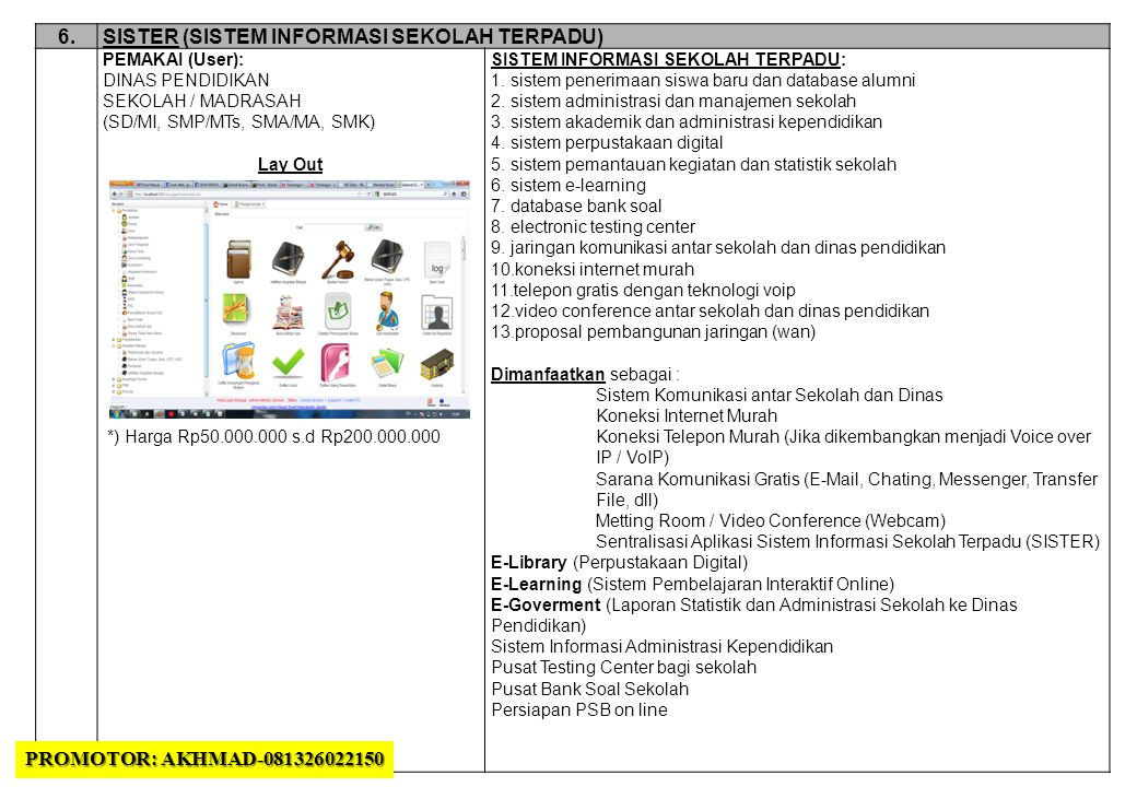 6.SISTER (SISTEM INFORMASI SEKOLAH TERPADU) PEMAKAI (User): DINAS PENDIDIKAN SEKOLAH / MADRASAH (SD/MI, SMP/MTs, SMA/MA, SMK) Lay Out *) Harga Rp50.000.000 s.d Rp200.000.000 SISTEM INFORMASI SEKOLAH TERPADU: 1.