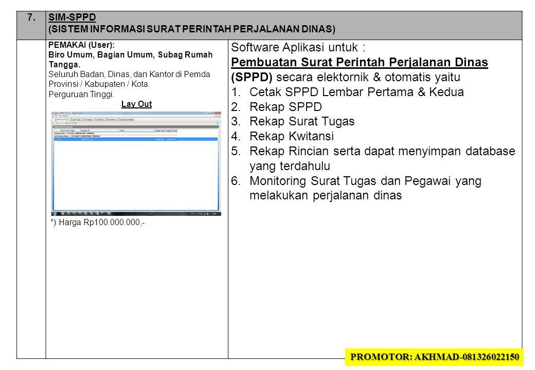 7.7.SIM-SPPD (SISTEM INFORMASI SURAT PERINTAH PERJALANAN DINAS) PEMAKAI (User): Biro Umum, Bagian Umum, Subag Rumah Tangga.