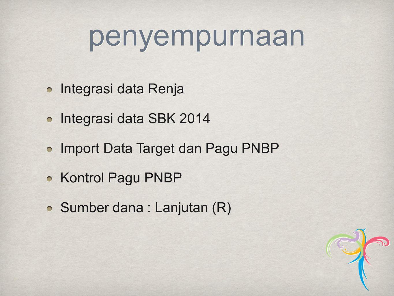 penyempurnaan Integrasi data Renja Integrasi data SBK 2014 Import Data Target dan Pagu PNBP Kontrol Pagu PNBP Sumber dana : Lanjutan (R)