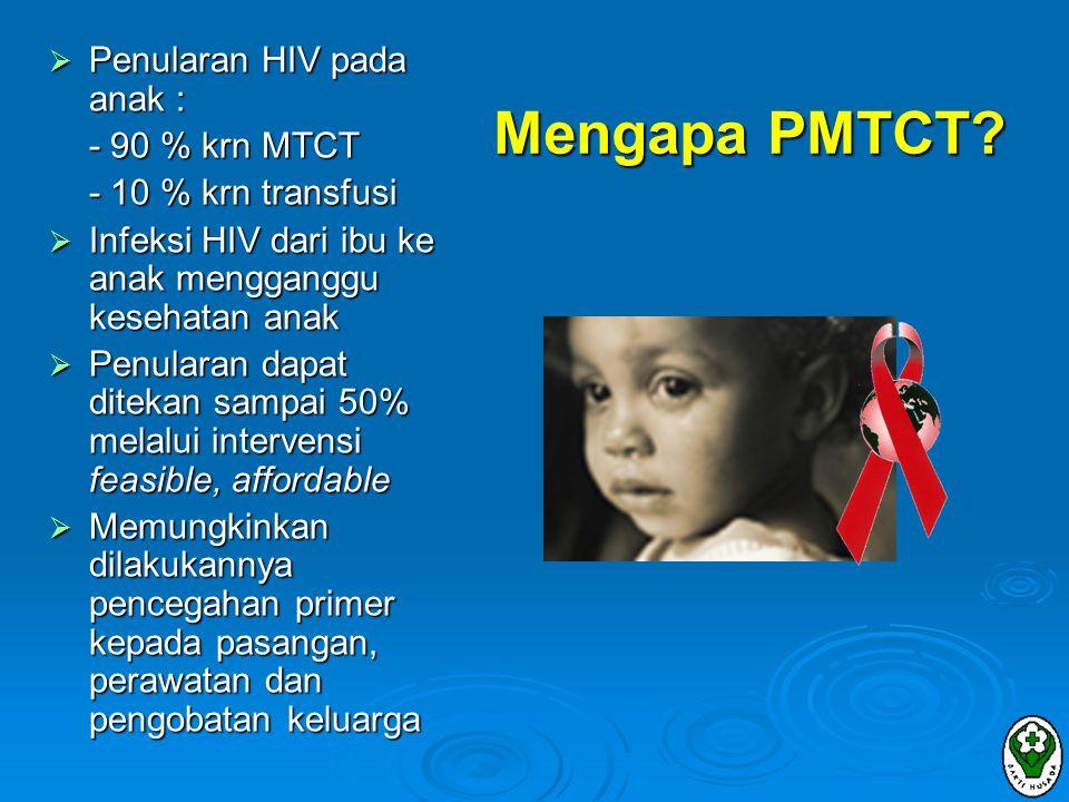 STRATEGI II (pencegahan kehamilan pada ibu HIV +) MEMBUTUHKAN :  Layanan konseling & tes HIV sukarela  Sarana kontrasepsi yang aman & efektif (kondom, kontrasepsi oral /implant/KB suntik, sterilisasi)  IUD tidak dianjurkan  infeksi, perdarahan  risiko penularan HIV pada bayi