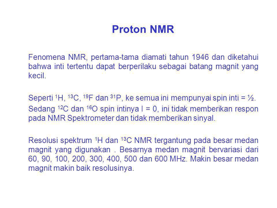 Peralatan spektrometer yang digunakan (sesuai dengan urutan kemampuannya) yaitu : 1.Proton NMR (Resonansi Magnetik Inti) 2.Karbon-13 NMR 3.Mass Spektr