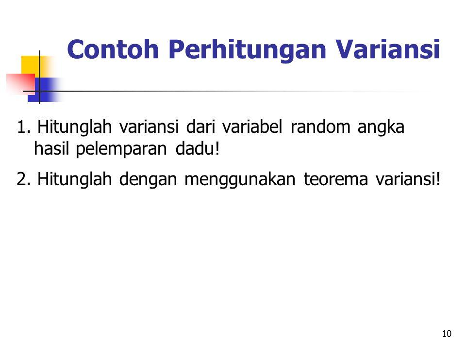 10 Contoh Perhitungan Variansi 1.