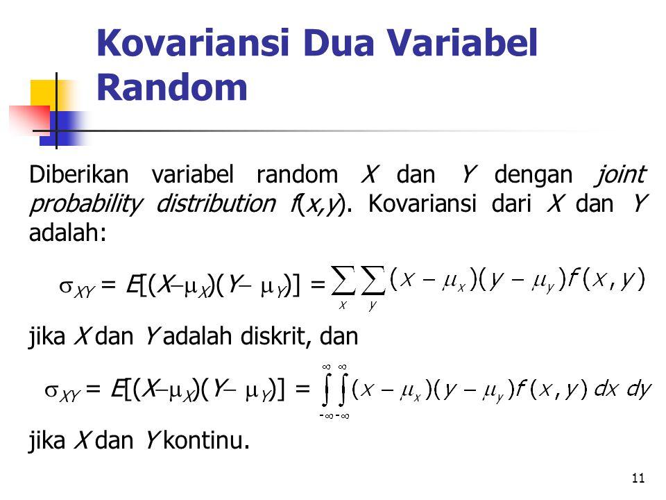 11 Kovariansi Dua Variabel Random Diberikan variabel random X dan Y dengan joint probability distribution f(x,y).