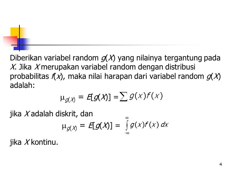 4 Diberikan variabel random g(X) yang nilainya tergantung pada X.