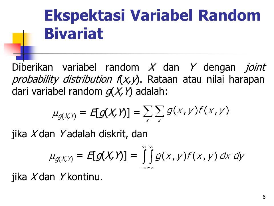 6 Ekspektasi Variabel Random Bivariat Diberikan variabel random X dan Y dengan joint probability distribution f(x,y).