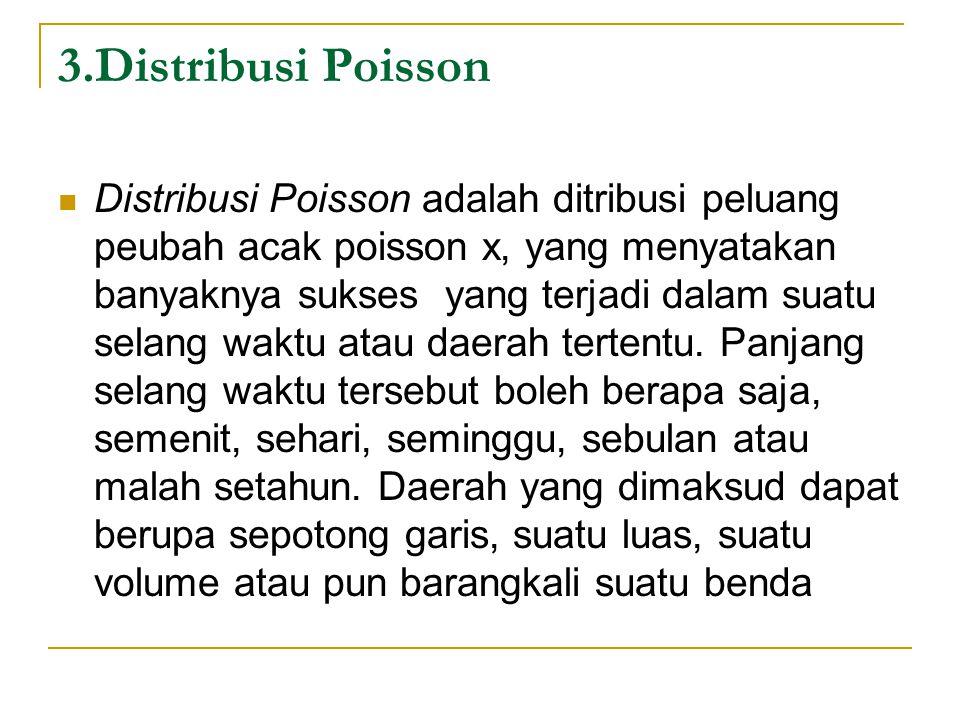 3.Distribusi Poisson  Distribusi Poisson adalah ditribusi peluang peubah acak poisson x, yang menyatakan banyaknya sukses yang terjadi dalam suatu selang waktu atau daerah tertentu.