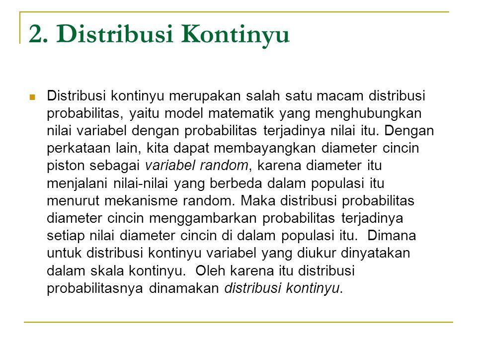 2. Distribusi Kontinyu  Distribusi kontinyu merupakan salah satu macam distribusi probabilitas, yaitu model matematik yang menghubungkan nilai variab