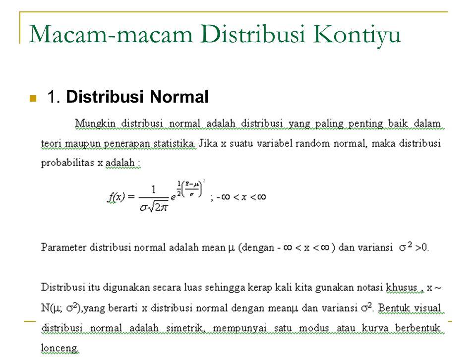 Macam-macam Distribusi Kontiyu  1. Distribusi Normal