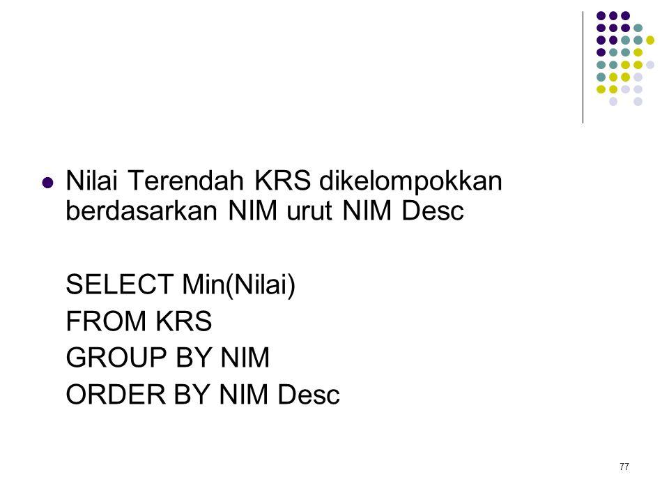 77  Nilai Terendah KRS dikelompokkan berdasarkan NIM urut NIM Desc SELECT Min(Nilai) FROM KRS GROUP BY NIM ORDER BY NIM Desc