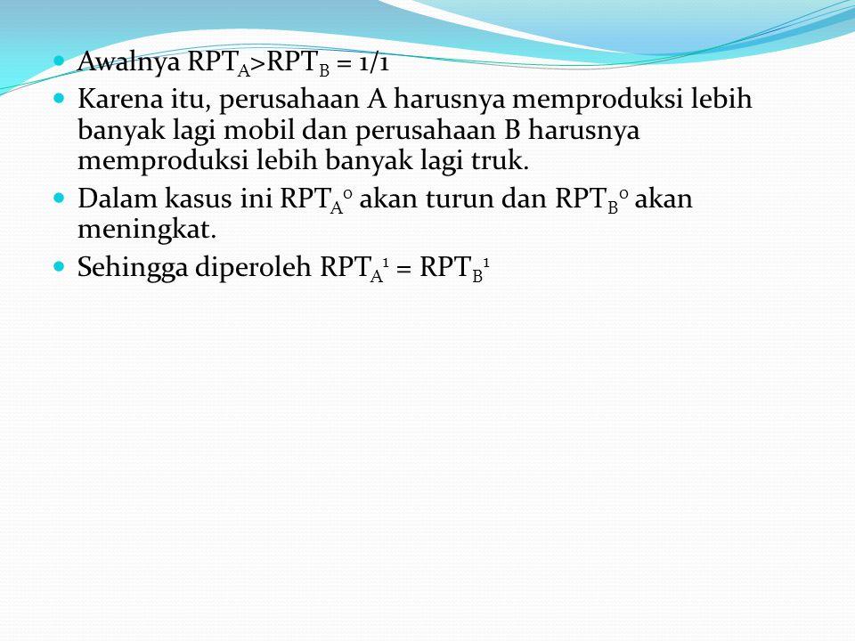  Awalnya RPT A >RPT B = 1/1  Karena itu, perusahaan A harusnya memproduksi lebih banyak lagi mobil dan perusahaan B harusnya memproduksi lebih banya