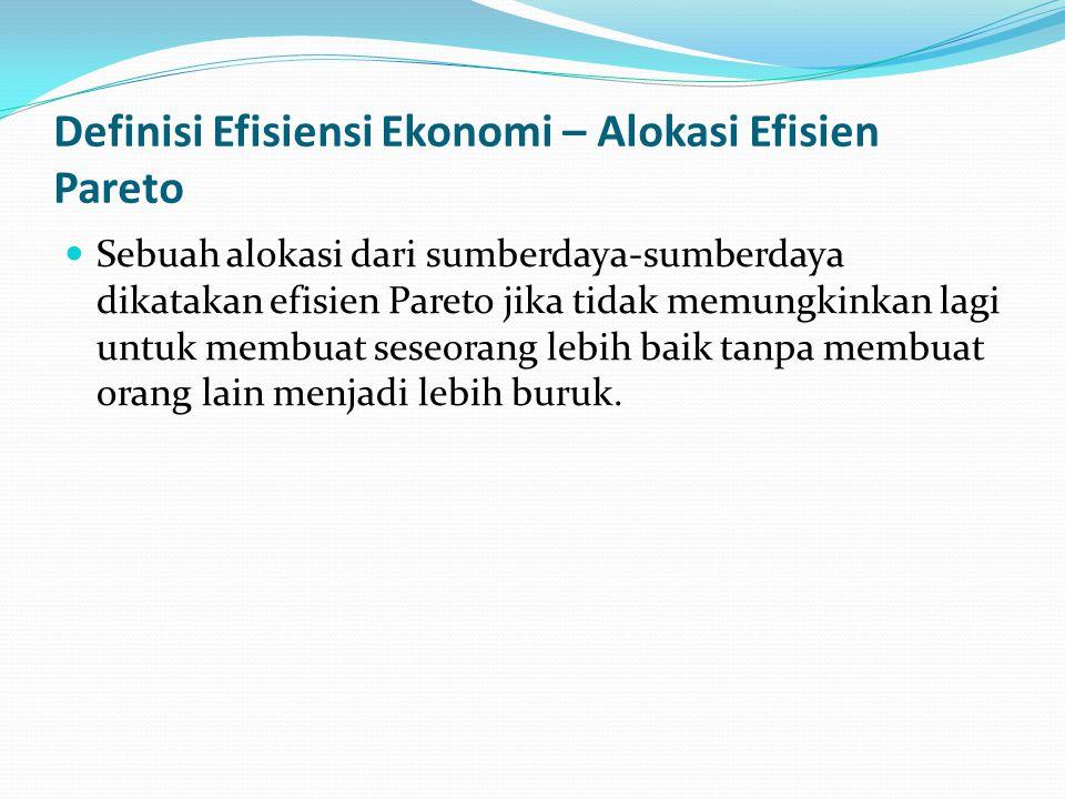 Definisi Efisiensi Ekonomi – Alokasi Efisien Pareto  Sebuah alokasi dari sumberdaya-sumberdaya dikatakan efisien Pareto jika tidak memungkinkan lagi