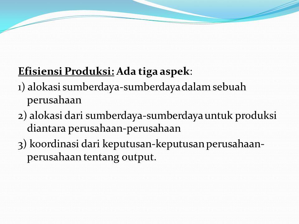 Efisiensi Produksi: Ada tiga aspek: 1) alokasi sumberdaya-sumberdaya dalam sebuah perusahaan 2) alokasi dari sumberdaya-sumberdaya untuk produksi dian