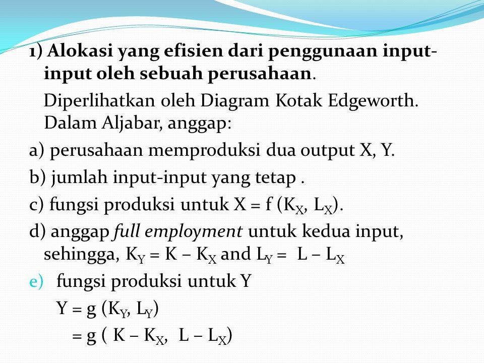 1) Alokasi yang efisien dari penggunaan input- input oleh sebuah perusahaan. Diperlihatkan oleh Diagram Kotak Edgeworth. Dalam Aljabar, anggap: a) per