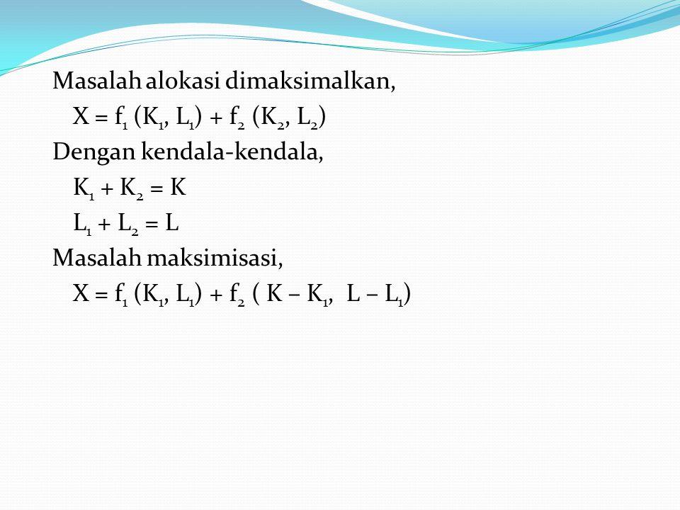 Masalah alokasi dimaksimalkan, X = f 1 (K 1, L 1 ) + f 2 (K 2, L 2 ) Dengan kendala-kendala, K 1 + K 2 = K L 1 + L 2 = L Masalah maksimisasi, X = f 1