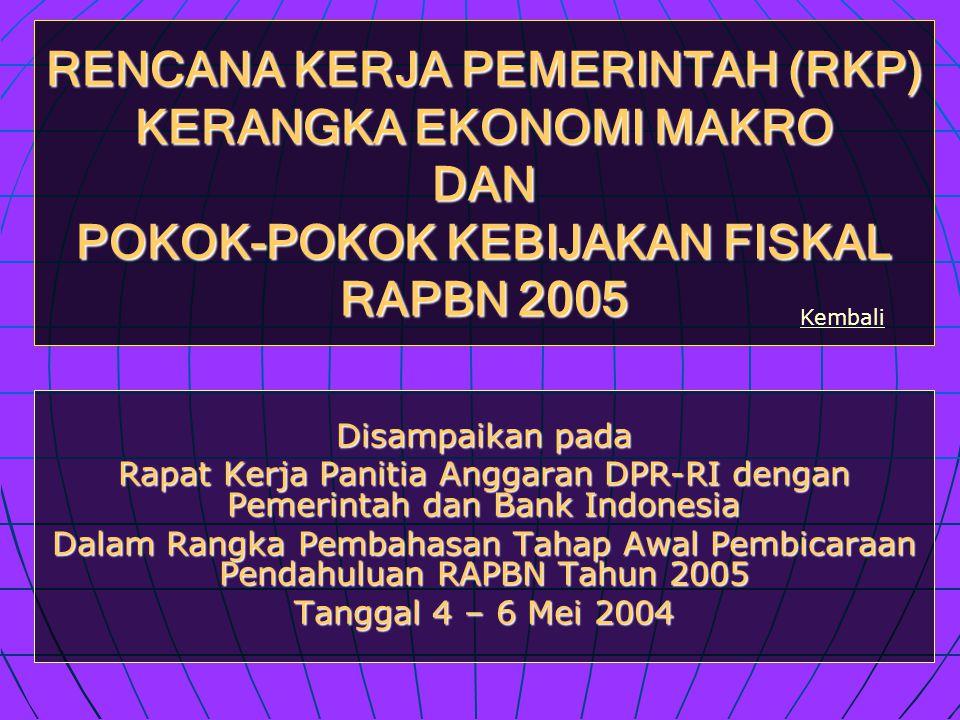 RENCANA KERJA PEMERINTAH (RKP) KERANGKA EKONOMI MAKRO DAN POKOK-POKOK KEBIJAKAN FISKAL RAPBN 2005 Disampaikan pada Rapat Kerja Panitia Anggaran DPR-RI dengan Pemerintah dan Bank Indonesia Dalam Rangka Pembahasan Tahap Awal Pembicaraan Pendahuluan RAPBN Tahun 2005 Tanggal 4 – 6 Mei 2004 Kembali