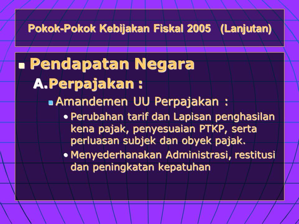 Pokok-Pokok Kebijakan Fiskal 2005 (Lanjutan)  Pendapatan Negara A.Perpajakan :  Amandemen UU Perpajakan : •Perubahan tarif dan Lapisan penghasilan kena pajak, penyesuaian PTKP, serta perluasan subjek dan obyek pajak.