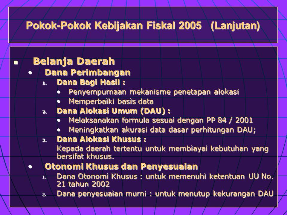 Pokok-Pokok Kebijakan Fiskal 2005 (Lanjutan)  Belanja Daerah •Dana Perimbangan 1.