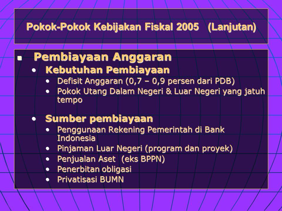 Pokok-Pokok Kebijakan Fiskal 2005 (Lanjutan)  Pembiayaan Anggaran •Kebutuhan Pembiayaan •Defisit Anggaran (0,7 – 0,9 persen dari PDB) •Pokok Utang Dalam Negeri & Luar Negeri yang jatuh tempo •Sumber pembiayaan •Penggunaan Rekening Pemerintah di Bank Indonesia •Pinjaman Luar Negeri (program dan proyek) •Penjualan Aset (eks BPPN) •Penerbitan obligasi •Privatisasi BUMN