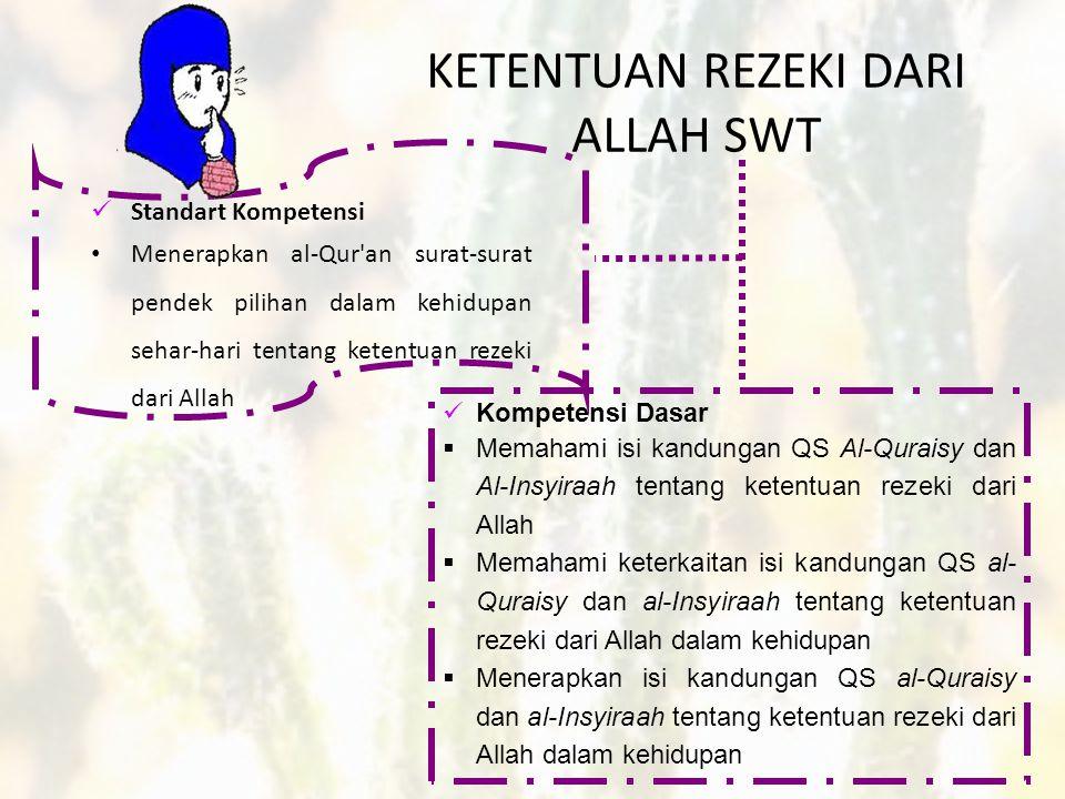 KETENTUAN REZEKI DARI ALLAH SWT  Standart Kompetensi • Menerapkan al-Qur an surat-surat pendek pilihan dalam kehidupan sehar-hari tentang ketentuan rezeki dari Allah  Kompetensi Dasar  Memahami isi kandungan QS Al-Quraisy dan Al-Insyiraah tentang ketentuan rezeki dari Allah  Memahami keterkaitan isi kandungan QS al- Quraisy dan al-Insyiraah tentang ketentuan rezeki dari Allah dalam kehidupan  Menerapkan isi kandungan QS al-Quraisy dan al-Insyiraah tentang ketentuan rezeki dari Allah dalam kehidupan