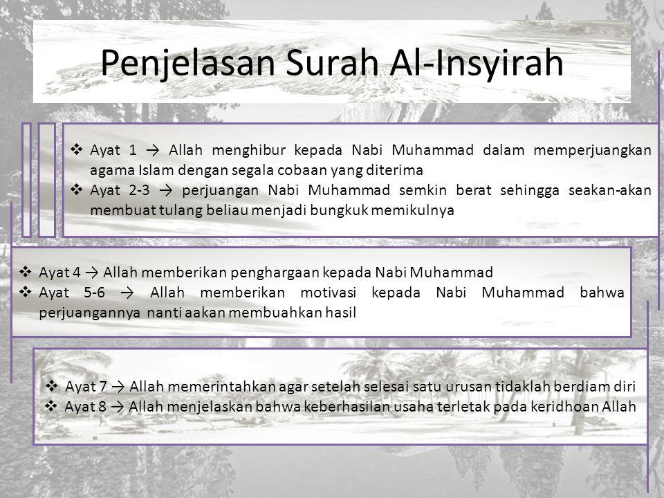 Penjelasan Surah Al-Insyirah  Ayat 1 → Allah menghibur kepada Nabi Muhammad dalam memperjuangkan agama Islam dengan segala cobaan yang diterima  Aya