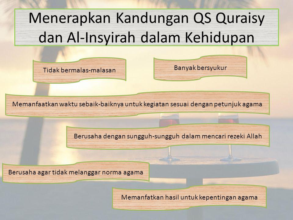 Menerapkan Kandungan QS Quraisy dan Al-Insyirah dalam Kehidupan Memanfaatkan waktu sebaik-baiknya untuk kegiatan sesuai dengan petunjuk agama Banyak b