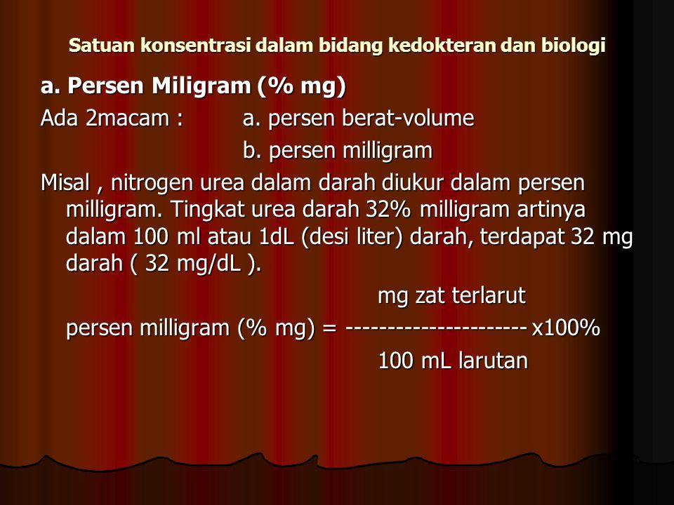 Satuan konsentrasi dalam bidang kedokteran dan biologi a. Persen Miligram (% mg) Ada 2macam : a. persen berat-volume b. persen milligram Misal, nitrog