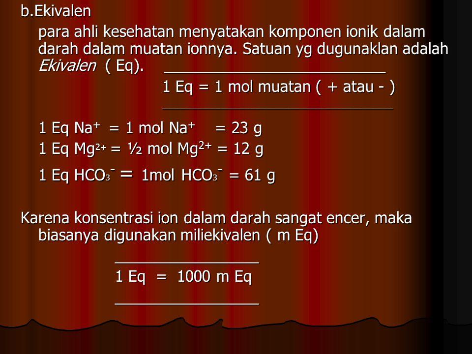 b.Ekivalen para ahli kesehatan menyatakan komponen ionik dalam darah dalam muatan ionnya. Satuan yg dugunaklan adalah Ekivalen ( Eq). ________________